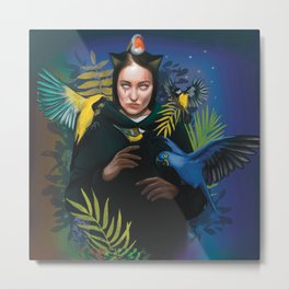 Cat woman with tropical birds in the night  Metal Print