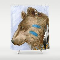 medicine Shower Curtains featuring Medicine Bear by Brandy Woods