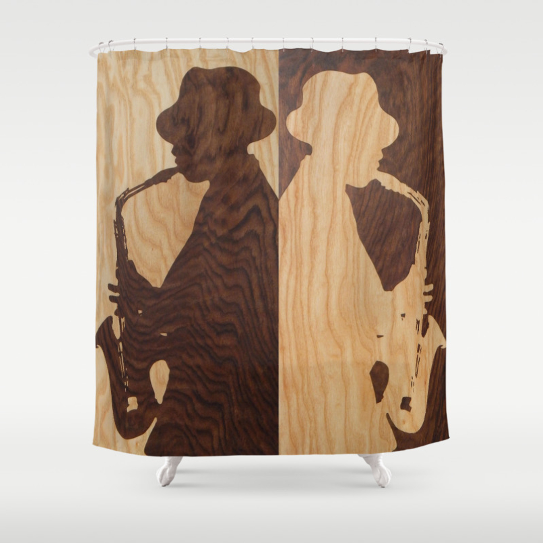 Blue and Saxophone Shower Curtains | Society6