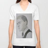 leonardo dicaprio V-neck T-shirts featuring Jay Gatsby - Leonardo DiCaprio by Moira Sweeney