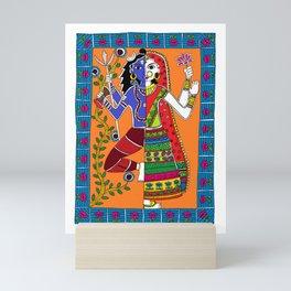 Madhubani Painting / Painting of God Shiv and Mata Parvati/ Madhubani Hub /Original painting of Amrita Gupta Mini Art Print