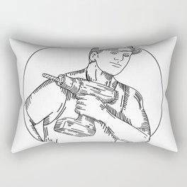 Handyman Cordless Drill Mono Line Rectangular Pillow