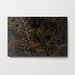 Black and gold Florence map Metal Print