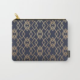 Navy & Gold Geo Pattern Carry-All Pouch
