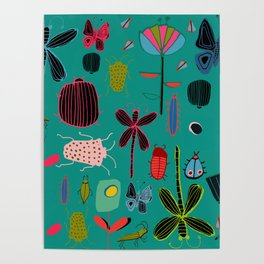 bugs and insects green Poster