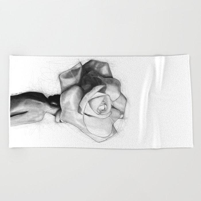 The Woman With Head Of A Rose Christy Turlington Beach Towel