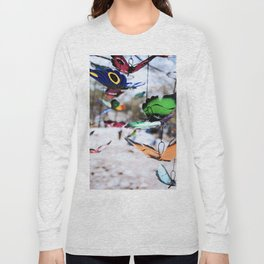 Colorful foam butterflies dangling in the air Long Sleeve T-shirt