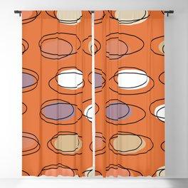 Mid Century Modern Ovals Scribbles Orange Blackout Curtain