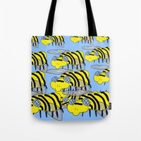 bees Tote Bags featuring Bees by David Abse