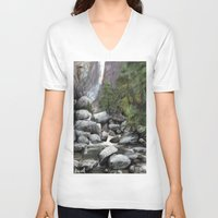 waterfall V-neck T-shirts featuring Waterfall by Michael Hewitt