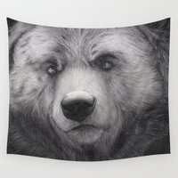 furry Wall Tapestries featuring Bear Charcoal by Puddingshades