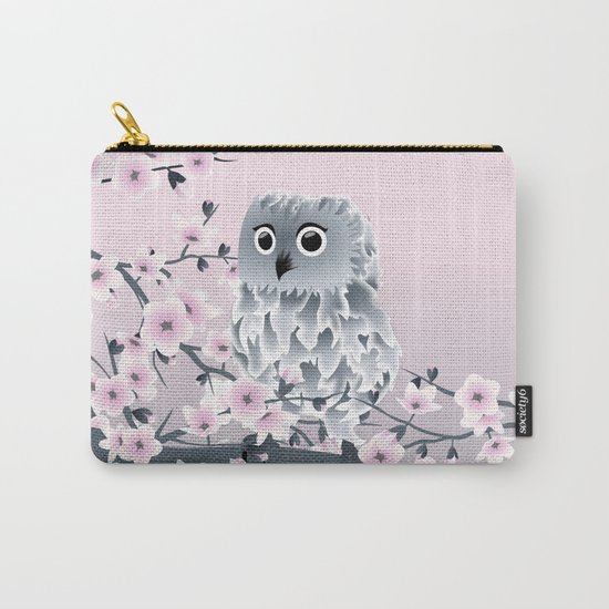 Cute Owl and Cherry Blossoms Pink Gray Carry-All Pouch