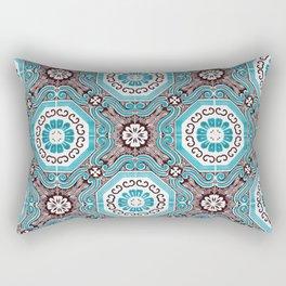 Portuguese Tiles Azulejos Aquamarine Black White Pattern Rectangular Pillow