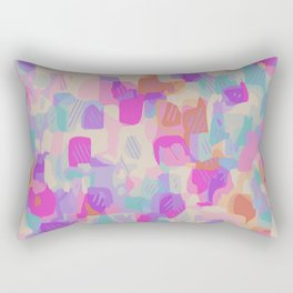 pink purple and blue drawing and painting abstract background Rectangular Pillow
