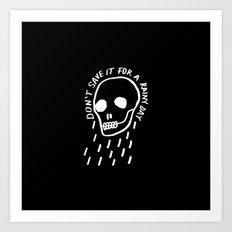 rainy day minimal skull hand lettering (dark) Art Print