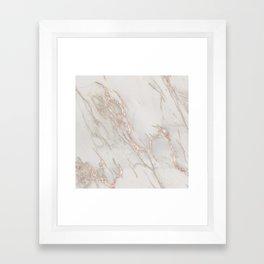 Marble Rose Gold Blush Pink Metallic by Nature Magick Framed Art Print