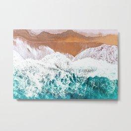 Aerial Beach Turquoise Metal Print
