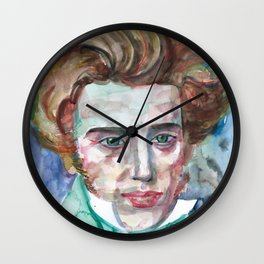 SOREN KIERKEGAARD watercolor portrait.2 Wall Clock