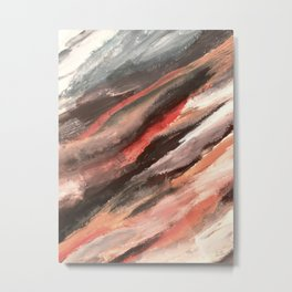 Moving Mountains: an abstract mixed media piece in contrasting pinks, purples, blues, and whites Metal Print