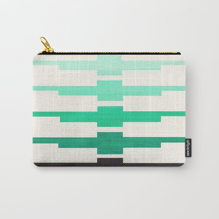 Mid Century Minimalist Ancient Aztec Inca Geometric Pattern Watercolor Teal Turquoise Colorful Gouac Carry-All Pouch