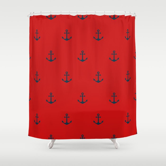 Navy Sailor Anchor Pattern Blue And Red Shower Curtain By Seafoam12