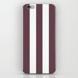 Deep Tuscan red purple - solid color - white vertical lines pattern iPhone Skin
