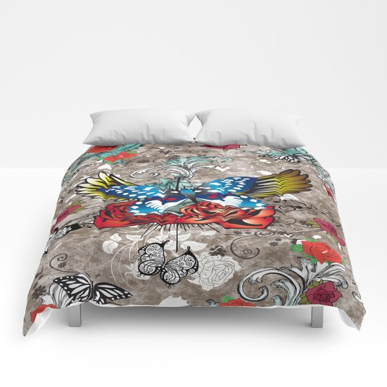 Butterfly with Roses Comforters