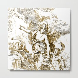 Vintage Angel Hand Drawing Metal Print