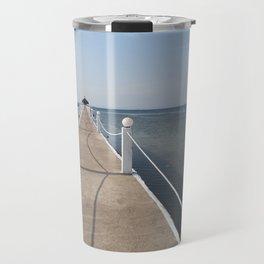 sea boardwalk Travel Mug