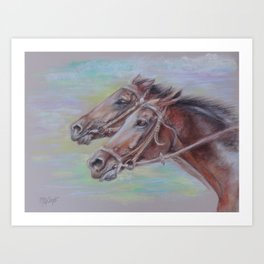 Horse Racing, Portrait of two brown horses, Pastel drawing on gray background Art Print