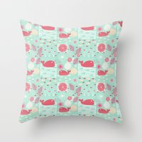 whales Throw Pillows featuring Whales by Bexie Doodles