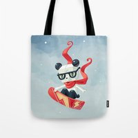 snowboarding Tote Bags featuring Snowboarding by Freeminds
