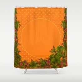 """Plants & Orange Polka Dots"" Shower Curtain"