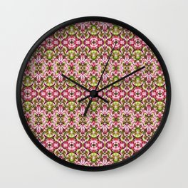 Delicate Floral Stripes Wall Clock