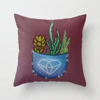 pocket Throw Pillows featuring Pocket Series: Succulent Pocket by Fourd Simkins