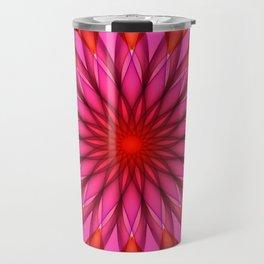Pink,red and fuchsia color mandala Travel Mug
