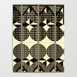 Black and White diamonds pattern in gray Poster