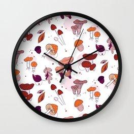 Mushrooms leaves Wall Clock