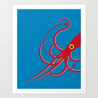squid Art Prints featuring Squid by Mark Walker