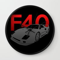 ferrari Wall Clocks featuring Ferrari F40 by Vehicle
