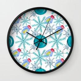 Blue Snowflakes #3 Wall Clock