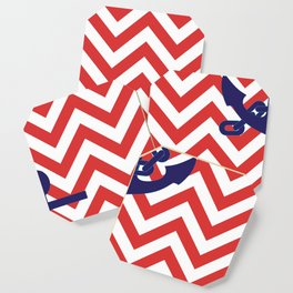 Blue Anchor on Red and White Chevron Pattern Coaster