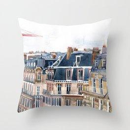 Roofs of Paris Throw Pillow