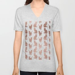 Modern faux rose gold cats pattern white marble Unisex V-Neck