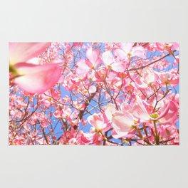 Pink Flowers Blue Sky Rug