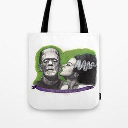 Watercolor Painting of Frankenstein & Bride Tote Bag