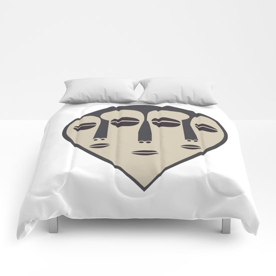 African Tribal Mask No. 5 Comforters