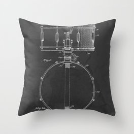 Snare Drum Vintage Patent 1939 Drummer Throw Pillow