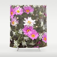 daisy Shower Curtains featuring Daisy by LebensART Photography