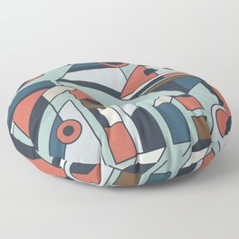 Abstract Geometric Cubism Style Artwork in Sherwin-Williams Color Chart Colors Floor Pillow